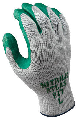 SHOWA Best™ Glove Size 9 Atlas Fit™ 350 10 Gauge Light Weight Cut Resistant Dark Green Nitrile Palm Coated Work Gloves With Light Gray Seamless Cotton And Polyester Knit Liner And Elastic Knit Wrist