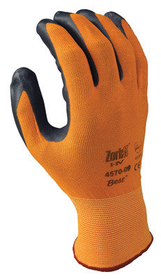 SHOWA Best™ Glove Size 8 Zorb-IT™ HV Abrasion Resistant Gray Nitrile Dipped Palm Coated Work Gloves With Hi-Viz Orange Seamless Nylon And Polyester Knit Liner And Elastic Cuff