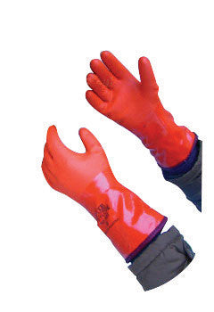 "SHOWA Orange Atlas™ 12"" Seamless Yellow Acrylic Lined Double-Dipped PVC Fully Coated Cold Weather Gloves With Rough And Textured Finish And Gauntlet Cuff"
