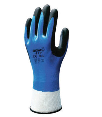 SHOWA Blue, White And Black Nitrile Polyester/Nylon Knit/Acrylic Terry Lined Cold Weather Gloves With Elastic Cuff And Wing Thumb