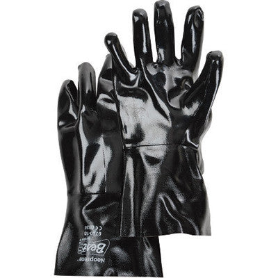 "SHOWA Best™ Size 10 Large Black Neo Grab 12"" Cotton Lined Neoprene Multi-Dipped Chemical Resistant Gloves With Smooth Finish And Gauntlet Cuff"