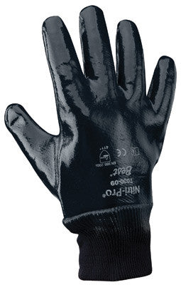 SHOWA Best™ Glove Size 10 Nitri-Pro™ Heavy Duty Cut, Abrasion, Tearing And Puncture Resistant Navy Nitrile Fully Coated Work Gloves With Cotton And Jersey Liner And Knit Wrist