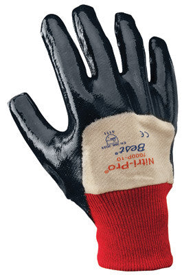 SHOWA Best™ Glove Size 9 Nitri-Pro™ Heavy Duty Cut, Abrasion, Tearing And Puncture Resistant Navy Nitrile Impregnation Palm Coated Work Gloves With White Cotton And Jersey Liner And Knit Wrist