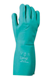 "SHOWA Best™ Glove Size 9 Green Nitri-Solve™ 13"" Flock Lined 15 mil Unsupported Nitrile Fully Coated Chemical Resistant Gloves With Bisque And Textured Finish And Gauntlet Cuff (Chlorinated)"