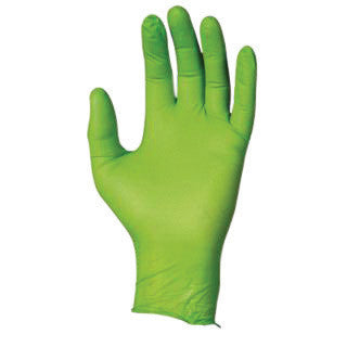 "SHOWA Best™ Glove Small Hi-Viz Green 9 1/2"" N-DEX Free™ 4 mil Nitrile Ambidextrous Powder-Free Disposable Gloves With Textured Finger Tip Finish And Rolled Cuff"