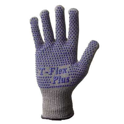 SHOWA Best™ Glove Size 7 Light Gray T-FLEX™ Dotted Style 13 gauge Light Weight Dyneema™ Ambidextrous Cut Resistant Gloves With Knit Wrist, Lycra™ Spandex™ Thermax™ Lined, PVC Dots Coating And AlphaSan™ Antimicrobial Treatment