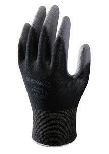 SHOWA Best™ Glove Medium SHOWA™ 13 Gauge Abrasion Resistant Dark Gray Polyurethane Palm Coated Work Gloves With Black Seamless Nylon Knit Liner And Knit Wrist