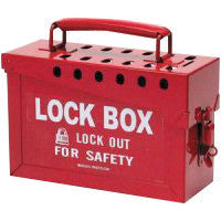 "Brady™ Red 6"" X 9"" X 3 1/2"" Heavy Duty Steel Portable Group Lock Box Includes (13) Lock Holes On Lid And (1) Lockable Clasp On Front"