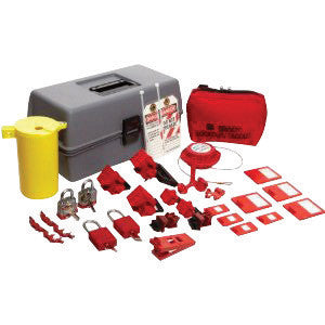 Brady™ Gray, Red And Yellow Electrical Lockout Toolbox Kit Includes (6) Lockouts, (2) Fuse Blockouts, (1) Extra-Large Lockout Toolbox And (1) Cleat