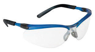 3M BX Safety Glasses With Ocean Blue Nylon Frame And Clear Indoor/Outdoor Mirror Polycarbonate Lens