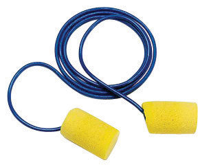 3M Large Single Use Classic Cylinder Shape PVC Foam Metal Detectable Corded Earplugs (1 Pair Per Poly Bag, 200 Pair Per Box)