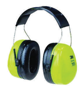 3M Peltor Optime 105 Hi-Viz Green And Black ABS Over-The-Head Hearing Conservation Earmuffs With Liquid/Foam Earmuff Cushions