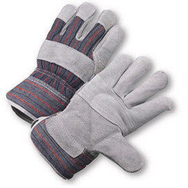 Radnor™ Large Economy Grade Split Leather Palm Gloves With Safety Cuff, Striped Canvas Back And Leather Palm Patch, Reinforced Knuckle Strap, Pull Tab, Index Finger And Fingertips