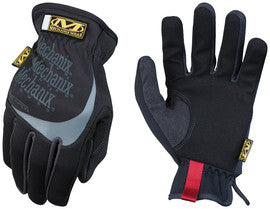 Mechanix Wear™ Black And Gray FastFit™ Full Finger Synthetic Leather Mechanics Gloves With Elastic Cuff, Spandex™ Padded Back, Stretch Panels