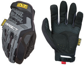 Mechanix Wear™ Black And Gray M-Pact™ Full Finger Synthetic Leather Anti-Vibration Gloves With Hook And Loop Cuff, PORON™ XRD™ Palm Padded And Rubberized Grip On Thumb, Index Finger And Palm
