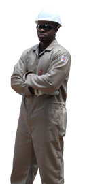 Stanco Safety Products™ Tan Cotton Arc Rated Flame Resistant Coveralls With Concealed 2-Way Brass Zipper Closure