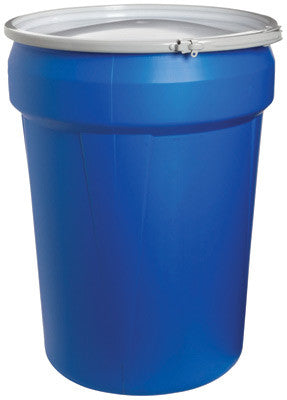 "Eagle 21 1/8"" Top Dia X 16 5/8"" Bottom Dia X 28 1/2"" Haz-Mat Blue HDPE Open Head Containment Overpack Drum With 30 Gallon Spill Capacity And Metal Lever-Lock Ring"