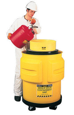 "Eagle 31"" X 33"" Yellow Polyethylene 1-Drum Spill Control Containment Unit With 65 Gallon Spill Capacity Without Drain"