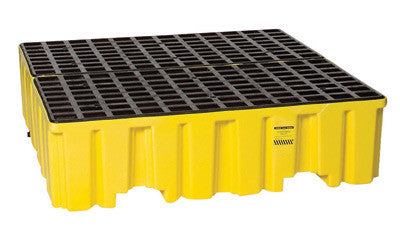 "Eagle 51 1/2"" X 51"" X 13 3/4"" Yellow HDPE 4-Drum Spill Containment Pallet With 1/2 Gallon Spill Capacity, Grating And Drain"