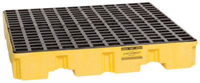 "Eagle 51 1/2"" X 51 1/2"" X 8"" Yellow HDPE 1-Drum Low-Profile Spill Containment Pallet With 66 Gallon Spill Capacity, Grating And Drain"