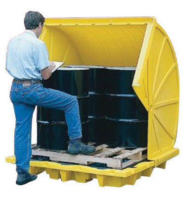 "Eagle 59 1/2"" X 73 1/2"" X 68"" Yellow HDPE 4-Drum Rotary-Top Containment Unit With 66 Gallon Spill Capacity And Drain"