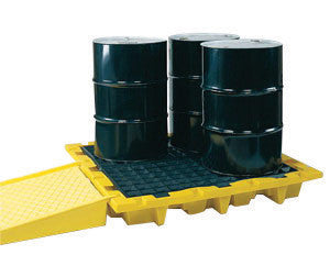 "Eagle 58 1/2"" X 58 1/2"" X 7 3/4"" Yellow HDPE 4-Drum Nestable Containment Pallet With 66 Gallon Spill Capacity And Drain"