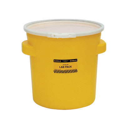 "Eagle 20 7/8"" Top Dia X 16 11/16"" Bottom Dia X 20 7/8"" Haz-Mat Yellow HDPE Containment Lab Pack Drum With 20 Gallon Spill Capacity And Plastic Lever-Lock Lid"