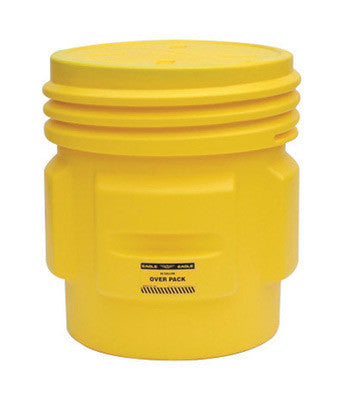 "Eagle 27 1/8"" Top Dia X 25 15/16"" Bottom Dia X 33 3/4"" Haz-Mat Yellow HDPE Containment Overpack Drum With 65 Gallon Spill Capacity And Screw Top Lid"