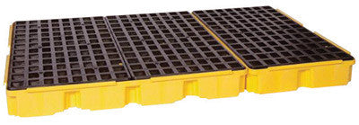 "Eagle 78 1/4"" X 51 1/2"" X 6 1/2"" Yellow HDPE 6-Drum Spill Containment Platform With 88 Gallon Spill Capacity Without Drain"