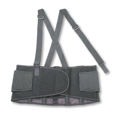 Ergodyne 2X Black ProFlex™ 100 280D Spandex™ Economy Standard Back Support With Two-Stage Closure, Rubber Track, Polypropylene Stays And Detachable Suspenders