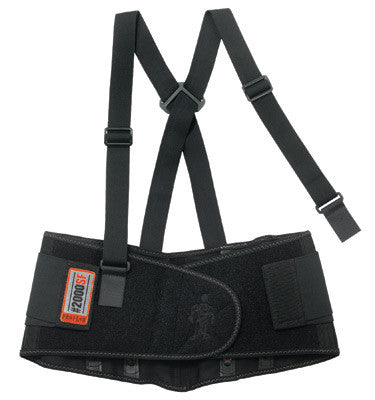 Ergodyne Large Black ProFlex™ 2000SF 840D Spandex™ High Performance V-Shaped Design Back Support With Two-Stage Closure, Sticky Fingers™ Stays And Detachable Suspenders