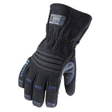 Ergodyne 2X Black ProFlex™ 819WP Nylon Hipora™ And Thinsulate Lined Thermal Waterproof Cold Weather Gloves With Terry Thumb, Gauntlet Cuff, PVC Reinforced Palm, Fingers And Saddle, Pull Tab, 500D Nylon Back, EVA Knuckle Pad And Terry Thumb Brow Wipe