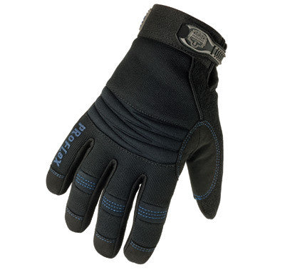 Ergodyne Medium Black ProFlex™ 817 Synthetic Leather Thinsulate Lined Thermal Cold Weather Gloves With Terry Thumb, Woven Elastic Cuff, Double Reinforced Amara Palm, Padded Spandex™ Back, Neoprene™ Knuckle Pad And Terry Thumb Brow Wipe