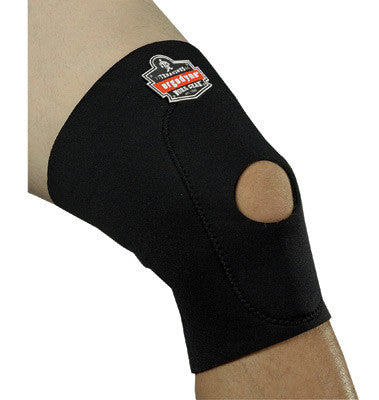 Ergodyne Large Black ProFlex™ 615 Neoprene Ambidextrous Single Layer Knee Sleeve With Hook And Loop Closure, Anterior Pad And Open Patella