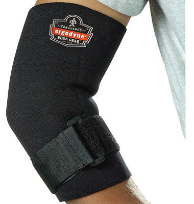 Ergodyne Large Black ProFlex™ 655 Neoprene Ambidextrous Elbow Sleeve With Hook And Loop Closure And Adjustable Cinch Strap