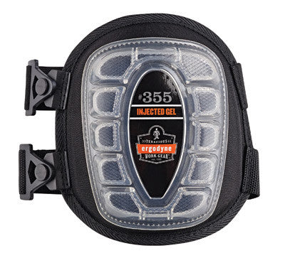 Ergodyne Black ProFlex™ 355 Injected Gel PU Foam Heavy Duty Knee Pad With Buckle, Hook And Loop Closure, Short Cap And Elastic Straps