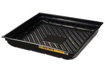 "Justrite™ 37 3/4"" X 34"" X 5 1/2"" EcoPolyBlend Black Recycled Polyethylene Lightweight Low-Profile Spill Tray With 23 Gallon Spill Capacity"