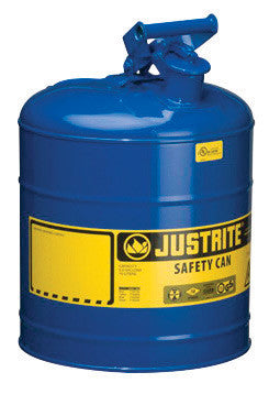Justrite™ 5 Gallon Blue Galvanized Steel Type I Safety Can With 3 1/2