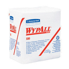 "Kimberly-Clark Professional* WYPALL* X80 SHOPPRO™ 12 1/2"" X 12"" White HYDROKNIT* Quarter Fold Disposable Wiper (50 Per Pack)"