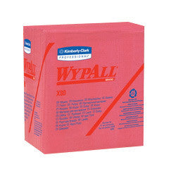 "Kimberly-Clark Professional* WYPALL* X80 SHOPPRO™ 12 1/2"" X 12"" Red HYDROKNIT* Quarter Fold Wiper (50 Per Pack)"