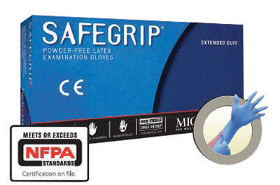 "Microflex™ Small Blue 11.8"" SafeGrip™ 11.4 mil Latex Ambidextrous Non-Sterile Medical Grade Powder-Free Disposable Gloves With Textured Finger Tip Finish And Extended Beaded Cuff (50 Each Per Box)"