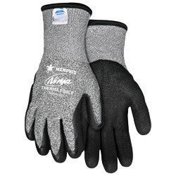Memphis Glove Medium Black And Gray Ninja™ Therma Force 7 Gauge Acrylic Terry Lined Cold Weather Gloves With Knit Wrist, Salt/Pepper 13 Gauge Dyneema™ And Synthetic Fibers Shell And Bi-Polymer Coated Palm And Fingertips