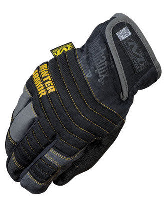 Mechanix Wear™ Medium Black And Gray Winter Armor Nylon Fleece Lined Cold Weather Gloves With Double Reinforced Thumb, Hook And Loop Cuff And Rubberized Palm