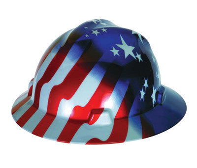 MSA Freedom Series V-Gard™ Polyethylene Cap Style Hard Hat With Fas Trac™ 4 Point Ratchet Suspension And American Stars And Stripes Graphics