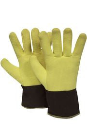 "National Safety Apparel 12"" Yellow And Brown 20 Ounce DuPont™ Kevlar® Heat Resistant Gloves With Duck Cuff, Wool And Cotton Lining And Wing Thumb"
