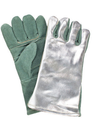 "National Safety Apparel 13"" Green 18 Ounce Leather Double Wool Cotton Lined Heat Resistant Gloves With Aluminized Carbon Kevlar™ Back"