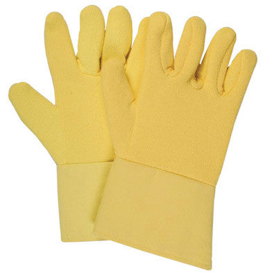"National Safety Apparel Medium 12"" Yellow 22 Ounce Kevlar™ Terrybest Terry Cloth Reversed Wool Lined Heat Resistant Gloves With Kevlar™ Twill Gauntlet Cuff"
