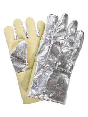 "National Safety Apparel Large 14"" Yellow 22 Ounce Thermobest Reversed Fonda Wool Lined Heat Resistant Gloves With Wing Thumb, Aluminized Carbon Kevlar™ Gauntlet Cuff, And Aluminized Carbon Kevlar™ Back"