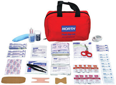 "North™ By Honeywell Redi-Care 6"" X 8 3/4"" X 2 3/4"" Red Nylon Portable Mount Medium 10 Person Responder First Aid Kit"