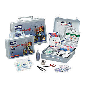 "North™ By Honeywell 7"" X 10 1/4"" X 3"" White Plastic Portable And Wall Mount 25 Person Bulk First Aid Kit"